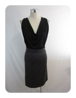New Love ady Black Charcoal Drape Neck Knit Sheath Dress 2X $88