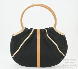 Longchamp Black Canvas Tan Leather Handbag