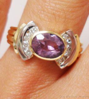 Amethyst Diamond Ring in 18K Yellow Gold