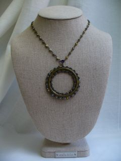 Sorrelli Large Circle Pendant Necklace Purple Blue Yellow Swarovski