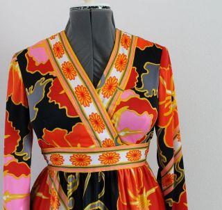 Vtg Lori Till Retro 60s Print Maxi Dress Hostess Gown Black Orange