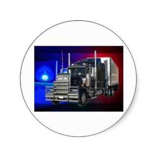 SEMI TRACTOR TRAILER WITH POLICE LIGHTS BACKGROUND ROUND STICKERS