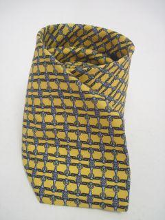 Luciano Firenze Yellow Blue Print Silk Neck Tie