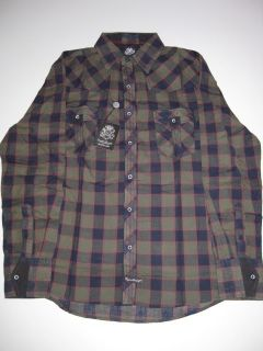 Lord Nelson Navy Green Plaid English Laundry LS Shirt Longsleeve Mens
