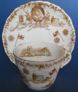 1897 Queen Victoria Diamond Jubilee Cup & Saucer by Aynsley for Wm
