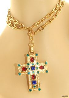 Susan Lucci Red Blue Green Crystal Goldtone Cross Belt Necklace