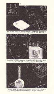 Vintage 1935 Lucien Lelong Paris Perfume Mini Bottle Ad