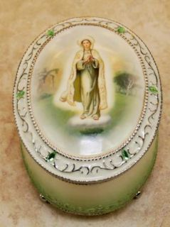 Vtg Catholic Our Lady of Fatima Mary Music Rosary Box