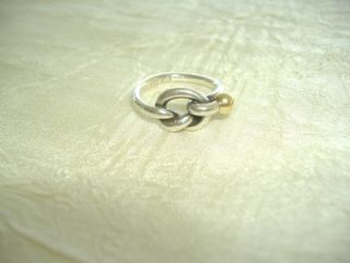Tiffany Co Sterling Silver 18K Love Knot Ring Size 4