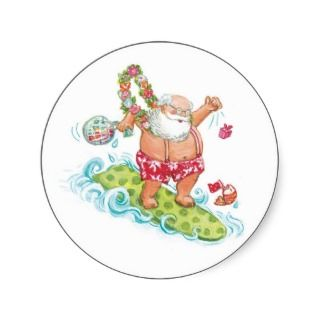 Vintage Christmas Cartoon Surfing Santa Claus Round Stickers