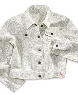 DKNY Kids Jacket, Little Girls Printed Denim Jacket