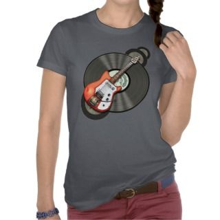 Vintage Electric Guitar and Vinyl Record T Shirts