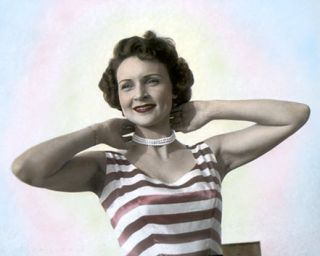 BETTY WHITE HOLLYWOOD ACTRESS & MOVIE STAR 10x8 HAND COLOR TINTED