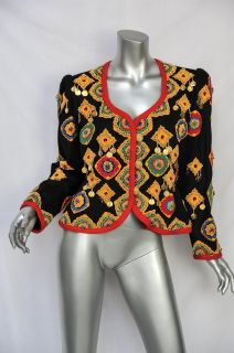 Yves Saint Laurent Black Vintage Gypsy Beaded Coin Jeweled Blazer
