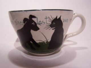 Louis Wain Bristol Pottery Pountney Cat and Dog Cup and Saucer C 1910