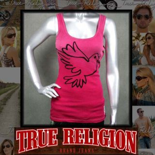 True Religion Womens Tank Top Shirt Pink Dove Stones
