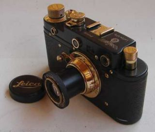 Leica III Luftwaffe Copy Black Gold in Leather Case ZORKI Copy