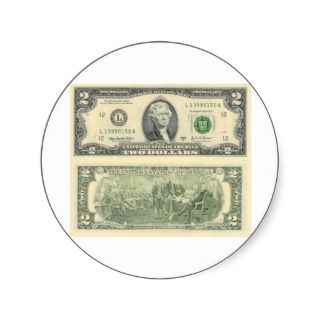 Two Dollar Bill Federal Reserve Note Back & Front Round Sticker