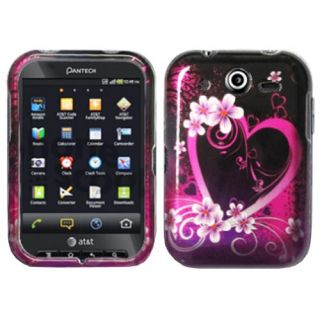 Purple Love Hard Snap On Cover Case for Pantech P9060 Pocket AT&T w