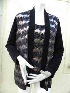 Chicos Amazing Black Slinky Cardigan Tank Twinset Embroidered Silver