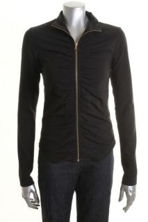Famous Catalog New Black Ruched Zip Front Yoga Jacket Casual Top Shirt