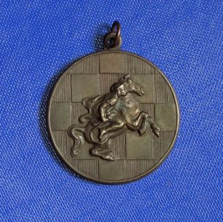 Medal Equestrian Knight on Chess Board 1949 Sign Ludvig BP