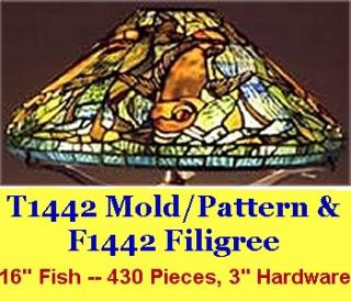 Odyssey 16 Fish Stained Glass Lamp Mold & Pattern w/ Filigree (T1422