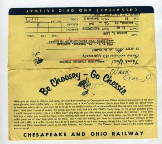 Chesapeake Ohio Railway Ticket Jacket Receipts