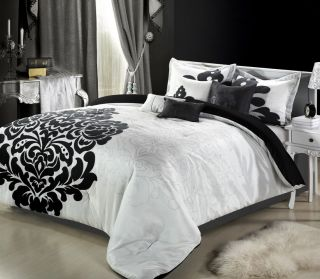8PC Luxury Bedding Comforter Set Black White Bed Sheet Pillows Bed in