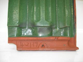 Ludowici Roof Tile Green Glazed French Terra Cotta Clay Field Vintage