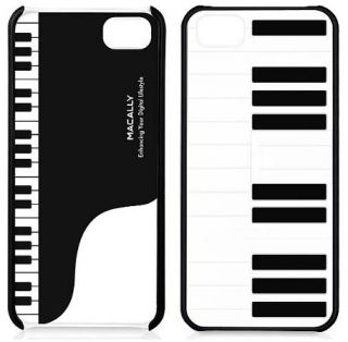 Macally Piano Jazz Case Black White Hard Cover with Stand for Apple