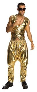 Gold Rapper MC Hammer Pants 80s 90s Fancy Dress Costume