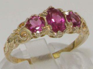 Gold Luxury Vibrant Pink Tourmaline Eternity Trilogy Band Ring