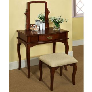 Solid Wood Finish Madera English Style Vanity Table Set