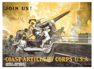 1920 U s Army Coast Artillery Corps Recruiting Poster