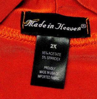 Made in Heaven Size 2X Plus Orange Slinky Stretch Knit Dress Faux Wrap