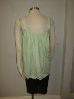 NWT LYNNE LARSON Aqua green tank sleeveless $210 peasant tie front top