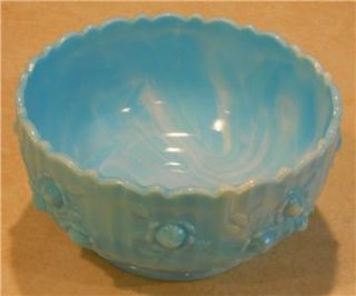 Fenton Art Glass Blue Marble Slag Rose Bowl Cabbage Milk Glass