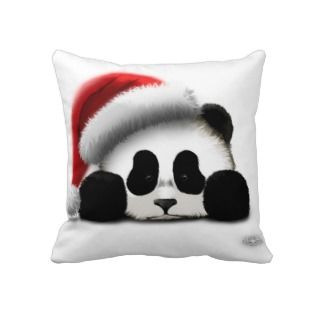 Merry Christmas Panda Throw Pillow