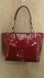 Coach Madison Crimson Patent Leather Tote Handbag 20484