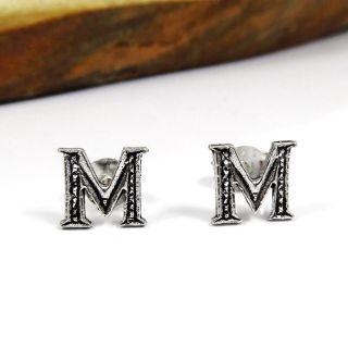 Cute Initial Letter M 925 Silver Stud Earrings