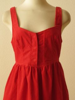 Anthropologie Maeve Red Cotton Corduroy Babydoll Dress 2