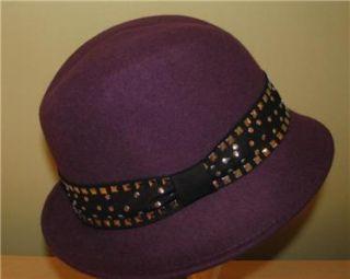 Magid Ladies Womans Purple Plum Wool Felt Fedora Hat w Studded Band