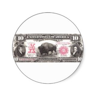 Lewis and Clark Ten Dollar Bill Round Sticker
