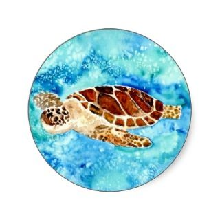 sea turtle marine sealife watercolor painting round stickers