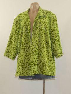 Maggie Barnes Size 2X Green Brown Open Front Light Weight Blazer