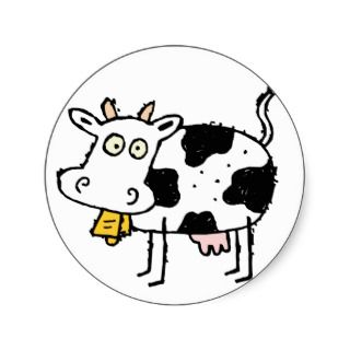 Cow Moo Cows Cattle Dairy Farm Animal Round Stickers