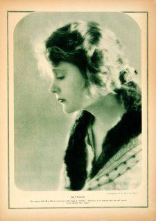 1921 Rotogravure Mae Marsh Ned Van Buren Brittle Portrait Actress Film