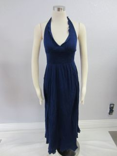 Maeve Anthropologie Navy Blue Halter Smocked Empire Waist Back Maxi