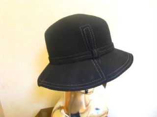Magid Ladies Womans Black Wool Felt Cloche Bucket Hat w Gray Stitching